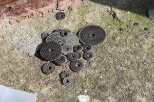 Cutting disc grave yard. They really don't last long, and some of the shattered. The larger ones broke in the center so were unusable.